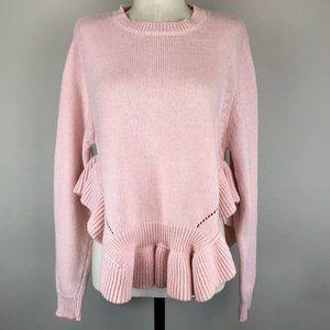 Soft Pink Cotton Ruffle Peplum Sweater